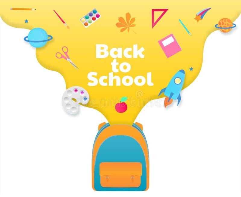 De nouveau à la bannière d'école, sac à dos avec des approvisionnements d'étude, papeterie Vaisseau spatial, comète, planète illustration de vecteur