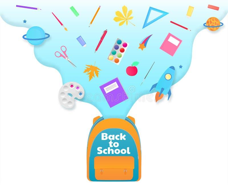 De nouveau à la bannière d'école, sac à dos avec des approvisionnements d'étude, papeterie Vaisseau spatial, comète, planète illustration libre de droits