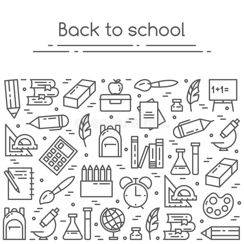 De nouveau à la bannière d'illustration de vecteur d'école avec étudier des approvisionnements dans schéma illustration de vecteur