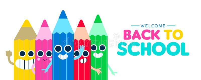 De nouveau à la bannière heureuse de Web de bande dessinée de crayon d'école illustration stock