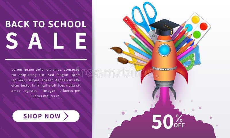De nouveau à la bannière de vente d'école, conception de l'avant-projet éducative avec les approvisionnements 3d et le lancement  illustration libre de droits