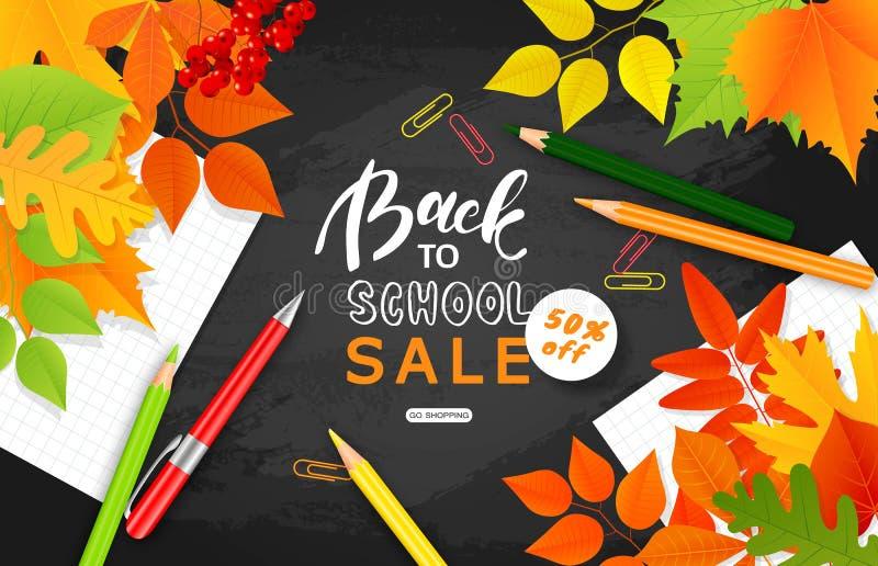 De nouveau à la bannière de vente d'école Feuilles d'automne, trombones de crayon et et feuilles de carnet sur le tableau noir Il illustration libre de droits