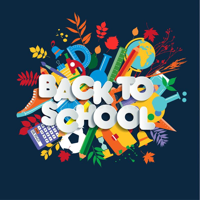 De nouveau à la bannière de Web d'école, à l'illustration colorée d'enfant avec des approvisionnements de classe et à la citation illustration libre de droits