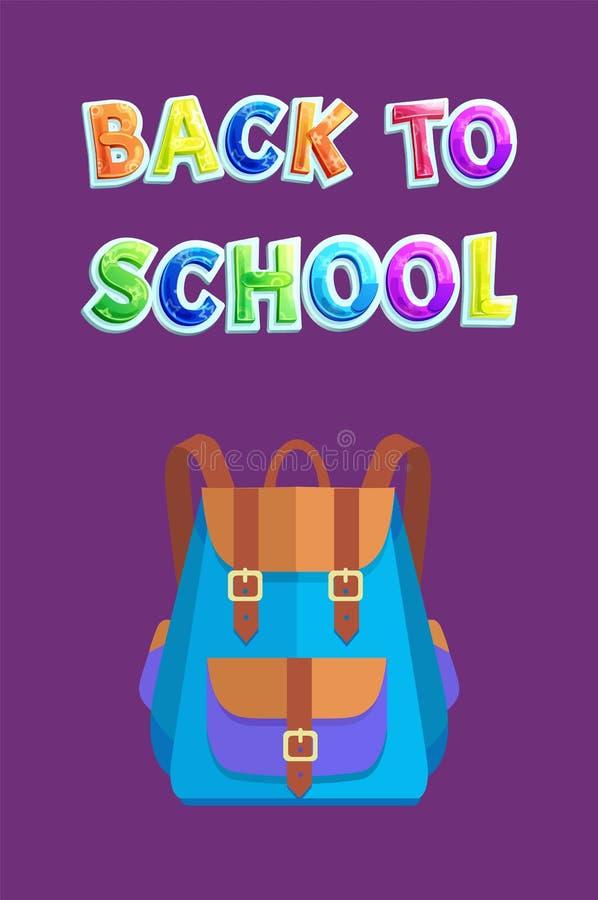 De nouveau à la carte d'école avec le sac à dos ou le sac bicolore illustration de vecteur