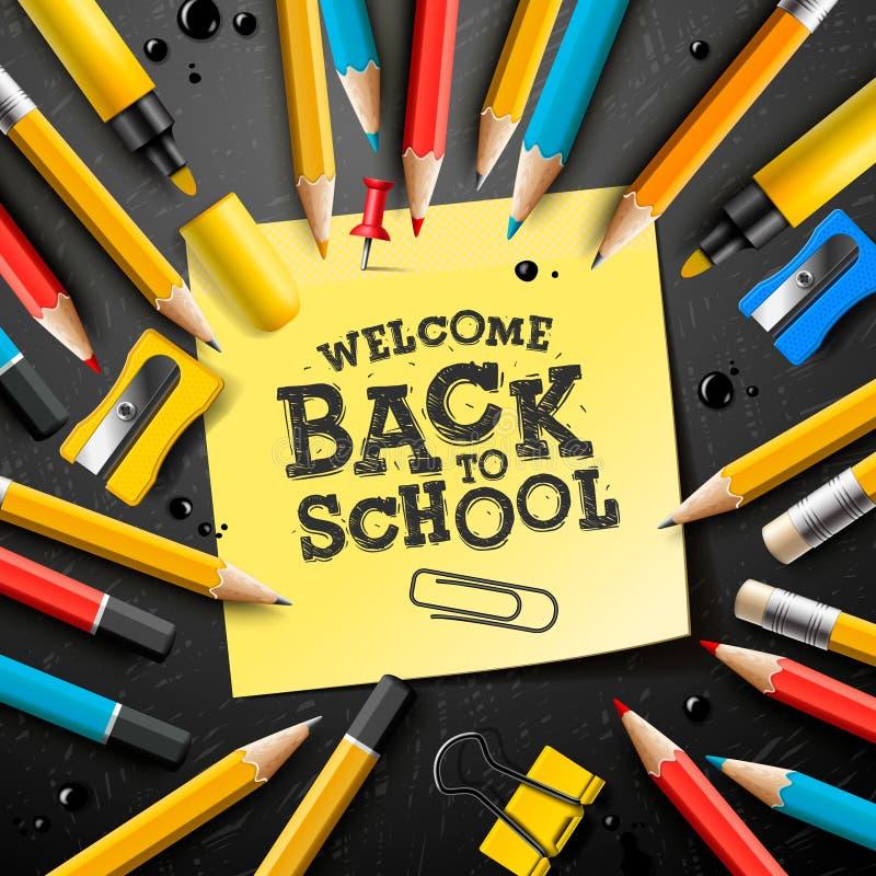 De nouveau à la conception d'école avec des crayons et des notes collantes Illustration de vecteur avec le post-it, la goupille,  illustration de vecteur