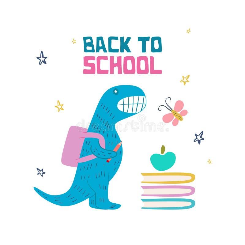 De nouveau à la conception de label de bannière de dessin d'école avec la décoration tirée par la main mignonne de style de griff illustration libre de droits
