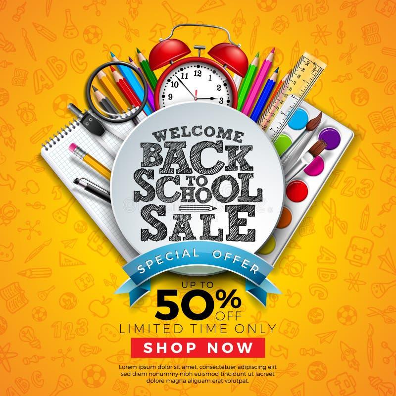 De nouveau à la conception de vente d'école avec le crayon coloré, la brosse et tout autre fond tiré de étude de griffonnages d'a illustration stock