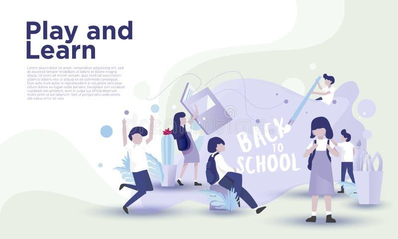 De nouveau à la page d'atterrissage d'école illustration stock