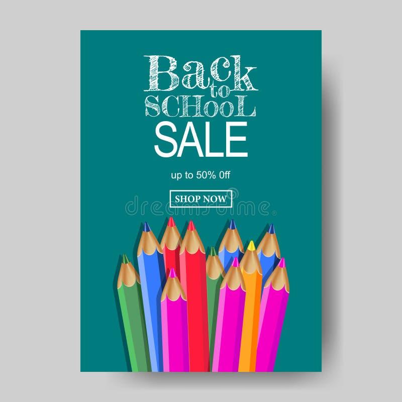 A4 de nouveau à la texture de bannière d'offre de vente d'école avec stationnaire avec le fond vert de tableau illustration stock