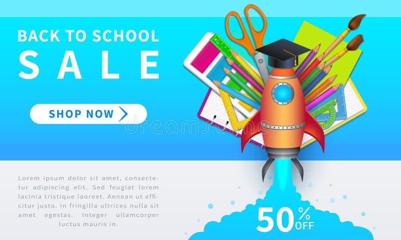 De nouveau à la vente d'école, à la bannière horizontale de Web de remise avec le lancement de fusée et aux approvisionnements 3d illustration de vecteur