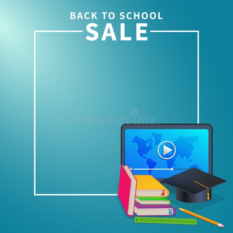 De nouveau au calibre de bannière de Web d'école sur le fond de turquoise avec la frontière de cadre, les approvisionnements, le  illustration stock