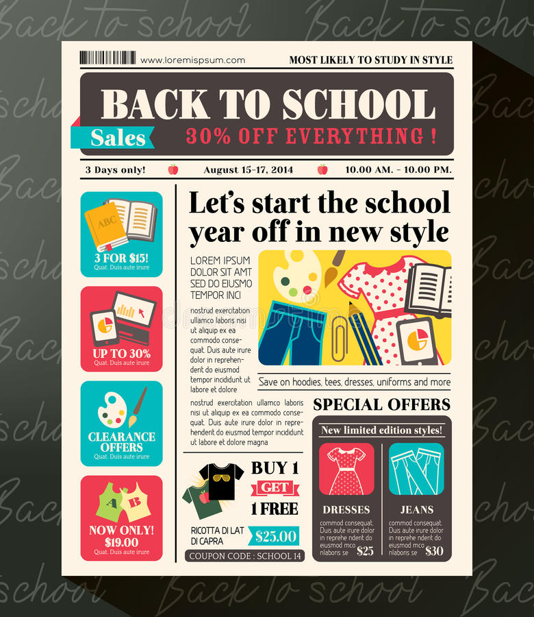 De nouveau au calibre promotionnel de conception de ventes d'école en journal illustration libre de droits