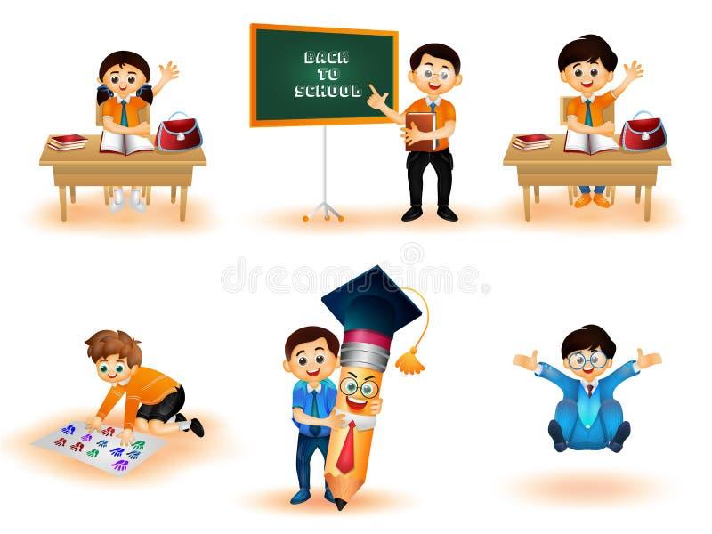 De nouveau au caractère d'enfants d'école exerçant différentes activités illustration libre de droits