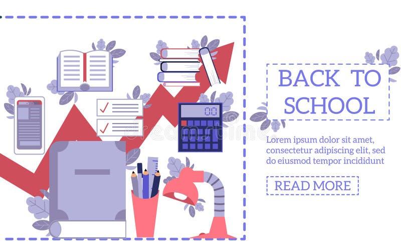 De nouveau au concept d'école avec des approvisionnements et des outils d'éducation sur le calibre de page Web dans le style plat illustration de vecteur