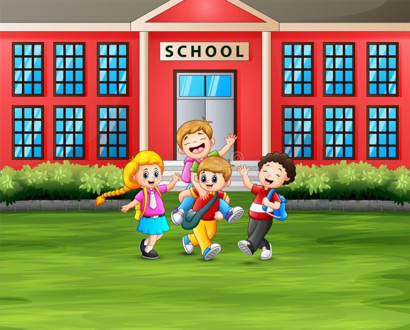 De nouveau au concept d'école les étudiants avec des sacs à dos devant le bâtiment scolaire illustration de vecteur