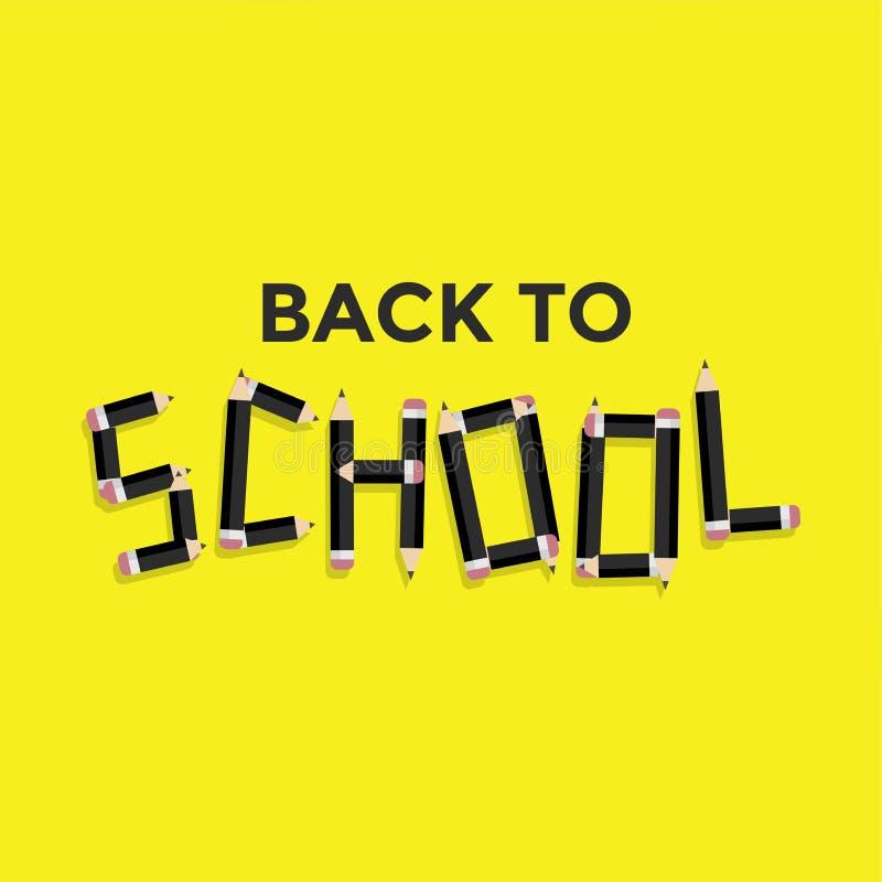 De nouveau au concept d'école, typographie noire de crayon illustration stock