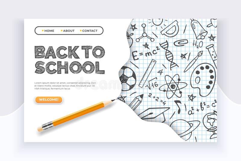 De nouveau au drapeau d'?cole Approvisionnements éducatifs tirés par la main sur la feuille de liste et un crayon Apple et lait c illustration de vecteur