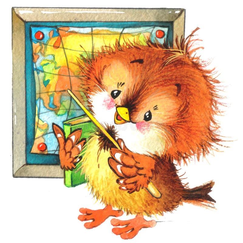 De nouveau au fond d'école avec l'oiseau drôle Illustration d'aquarelle illustration stock