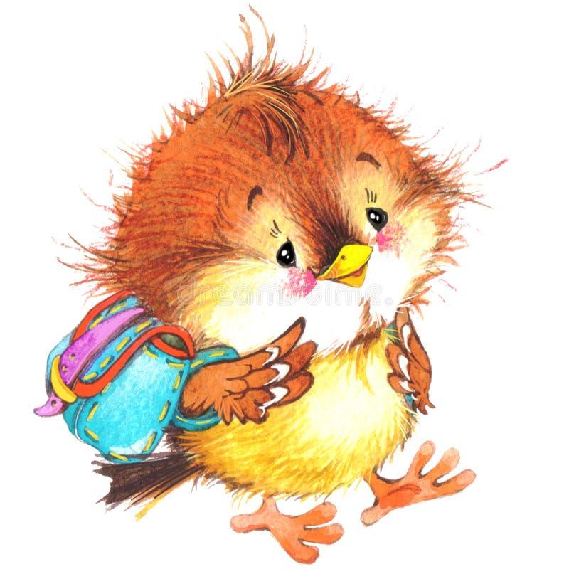 De nouveau au fond d'école avec l'oiseau drôle Illustration d'aquarelle illustration de vecteur