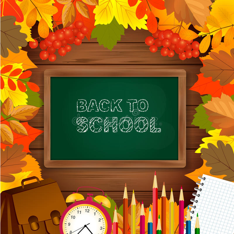 De nouveau au fond d'école avec le cadre de tableau noir, de réveil, de crayons, de bloc-notes et de feuilles d'automne sur la su illustration de vecteur