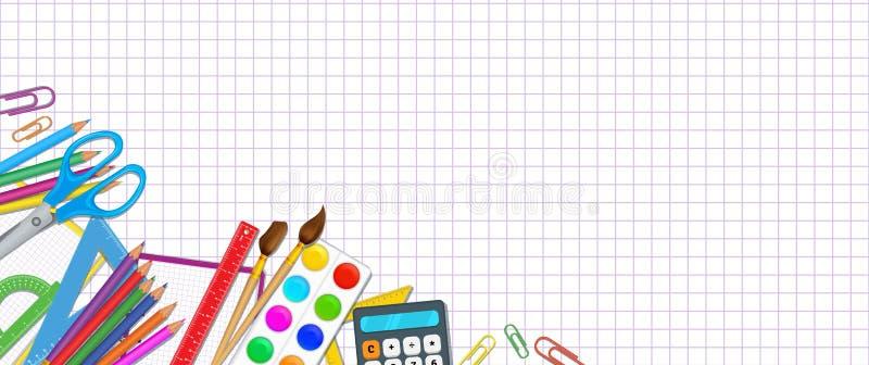 De nouveau au fond d'école, avec le modèle de papier de grille et les éléments d'approvisionnements réalistes comme des crayons,  illustration stock