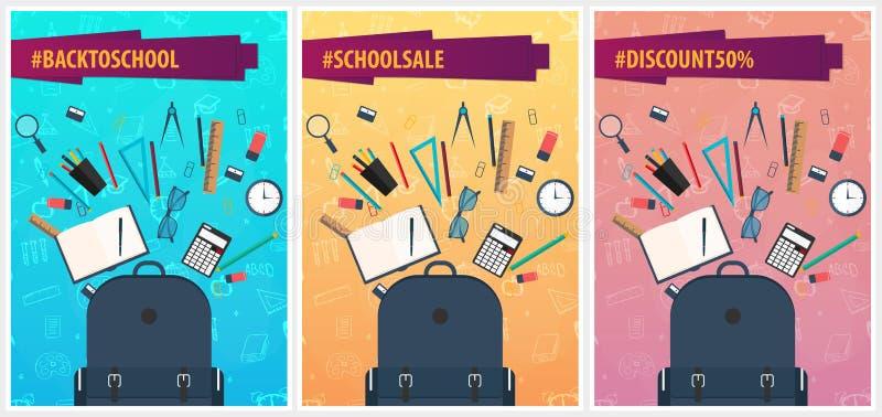 De nouveau au fond d'école (EPS+JPG) Bannière d'éducation Illustration de vecteur illustration libre de droits