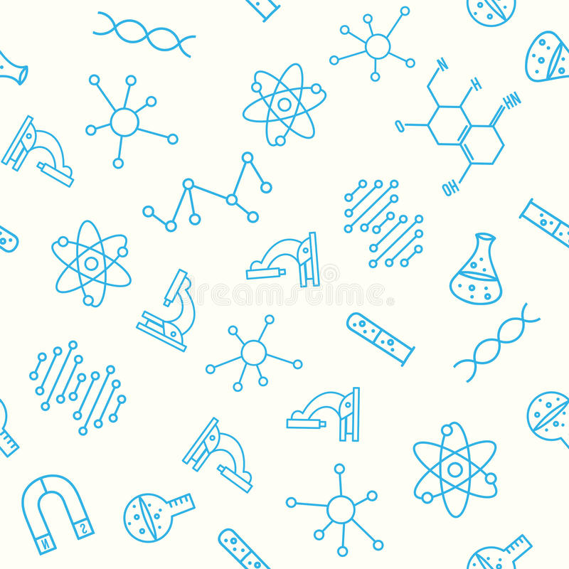 De nouveau au fond d'école (EPS+JPG) Configuration sans joint de la Science illustration stock