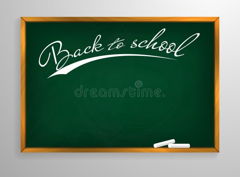 De nouveau au fond de tableau noir d'école et au cadre en bois, frotté tableau sale, illustration de vecteur illustration stock