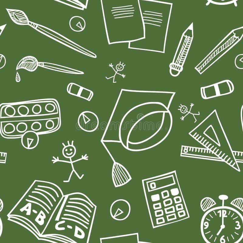De nouveau au modèle sans couture de griffonnages de fournitures scolaires illustration libre de droits