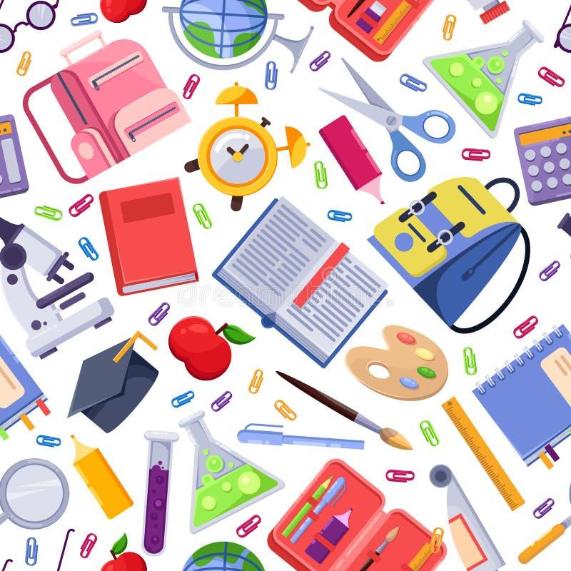 De nouveau au modèle sans couture de vecteur d'école Approvisionnements et outils colorés de papeterie d'éducation Fond d'impress illustration stock