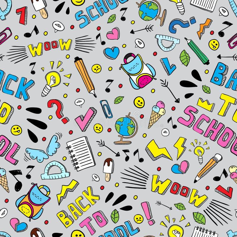 De nouveau au modèle sans couture de vecteur drôle d'école Fournitures scolaires noires et blanches et éléments créatifs Illustra illustration stock