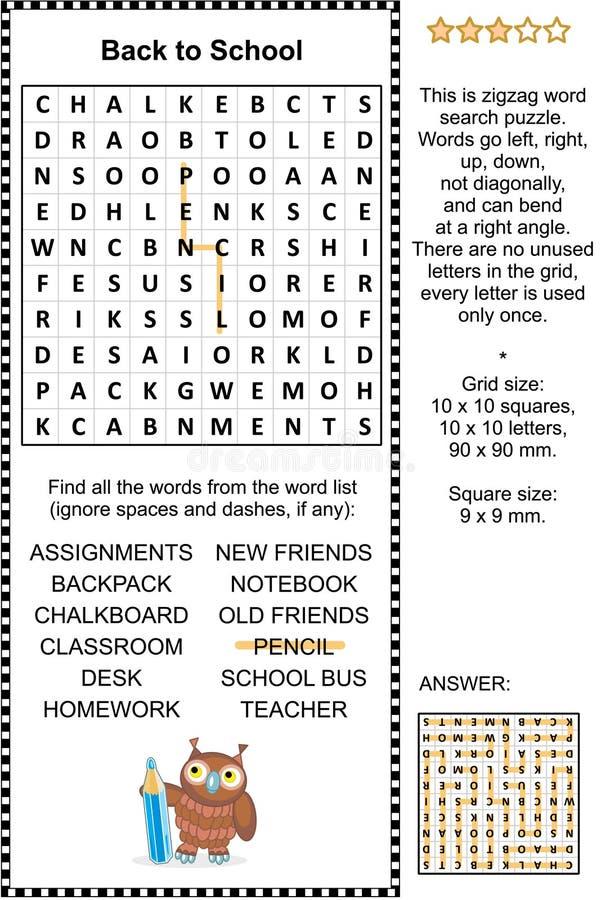 De nouveau au puzzle de wordsearch d'école illustration de vecteur