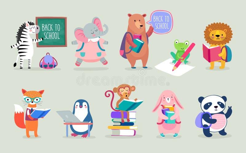 De nouveau au style tiré par la main d'animaux d'école, thème d'éducation Caractères mignons Ours, pingouin, éléphant, panda, ren illustration stock