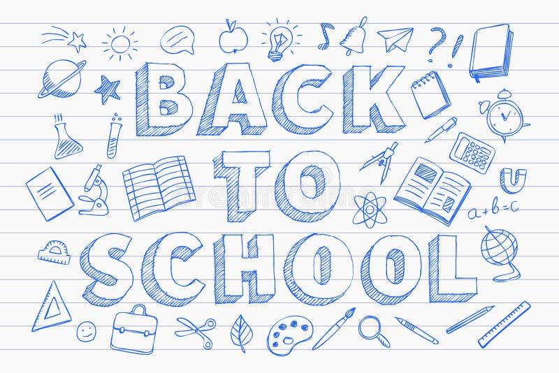 De nouveau au style tiré par la main de griffonnages de stylo bleu de bannière d'école illustration libre de droits
