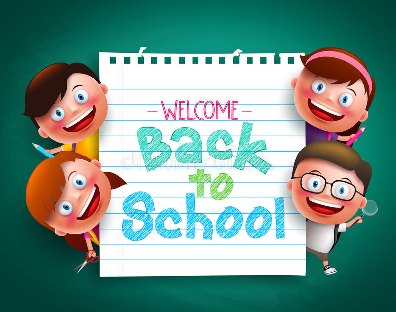 De nouveau au texte coloré d'école écrit en papier avec les enfants drôles dirigez les caractères illustration libre de droits