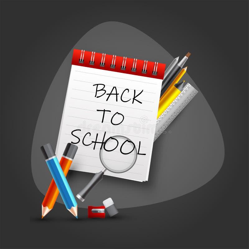 De nouveau au texte d'école sur le carnet avec des éléments de fournitures scolaires tels que le crayon coloré, règle, brosse de  illustration stock
