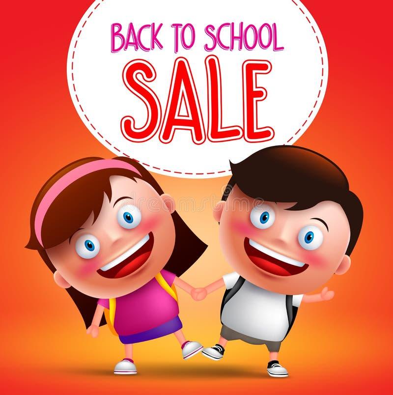 De nouveau au texte de vente d'école avec des enfants les étudiants dirigent le caractère illustration stock