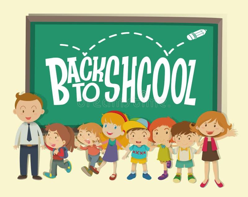 De nouveau au thème d'école avec le professeur et les étudiants illustration libre de droits
