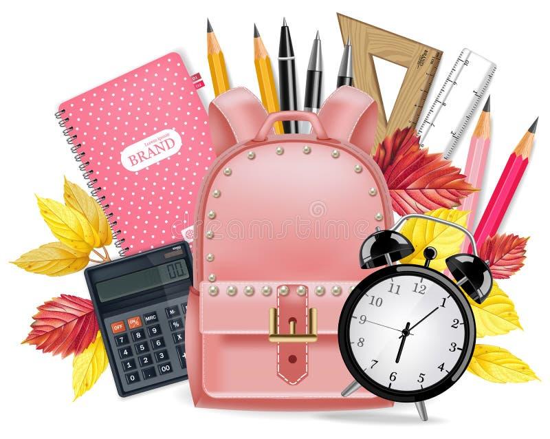 De nouveau au vecteur de carte d'école réaliste Approvisionnements d'école Sacoche, réveil, calculatrice, carnet, règles et stylo illustration stock