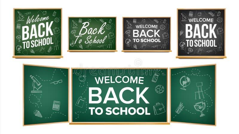 De nouveau au vecteur de conception de bannière d'école Tableau de salle de classe, tableau noir Icônes de griffonnage Fond de ve illustration de vecteur