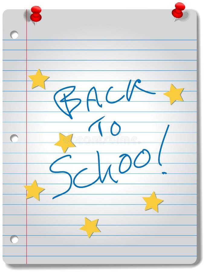 DE NOUVEAU aux approvisionnements d'éducation de cahier d'étoile d'ÉCOLE illustration libre de droits