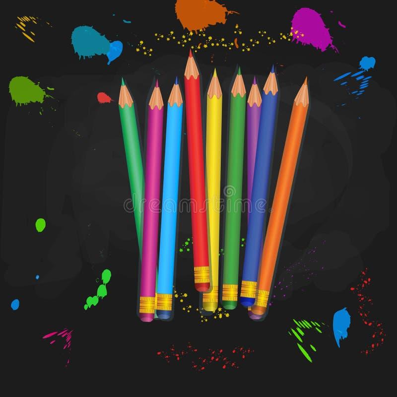 De nouveau aux approvisionnements d'?cole Tas des crayons réalistes colorés avec les gommes en caoutchouc d'isolement sur le fond illustration stock