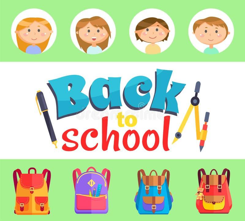 De nouveau aux enfants d'école avec des sacoches et des approvisionnements illustration stock