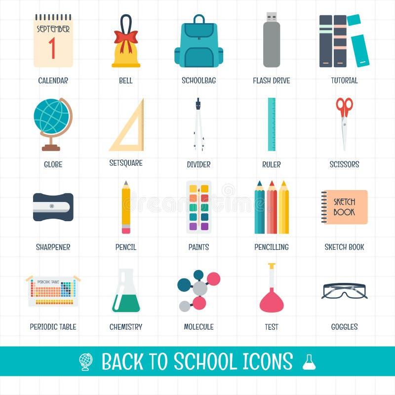 De nouveau aux icônes d'école réglées Graphismes d'école et d'éducation Bienvenue à l'école Conception plate illustration stock