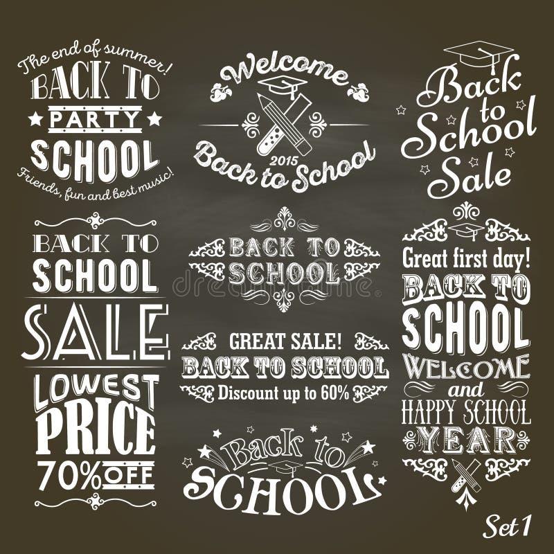 De nouveau aux labels de vintage de vente et de partie d'école sur le tableau noir illustration stock