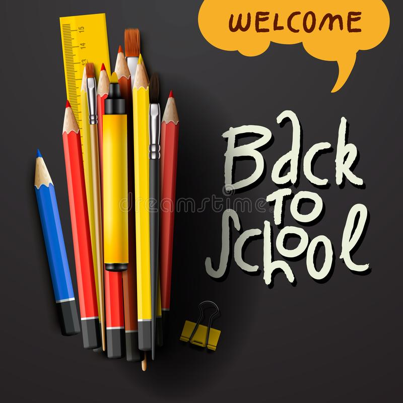 De nouveau aux mots de titre d'école avec les articles réalistes d'école avec les crayons, le stylo et la règle colorés à un arri illustration de vecteur