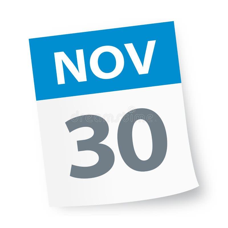 30 de novembro - ícone do calendário ilustração stock