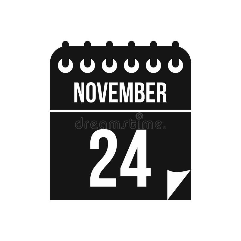 24 de novembro ícone do calendário no estilo simples ilustração stock