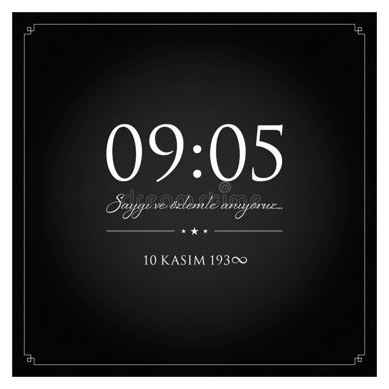 10 de novembro, aniversário de Mustafa Kemal Ataturk Death Day ilustração stock
