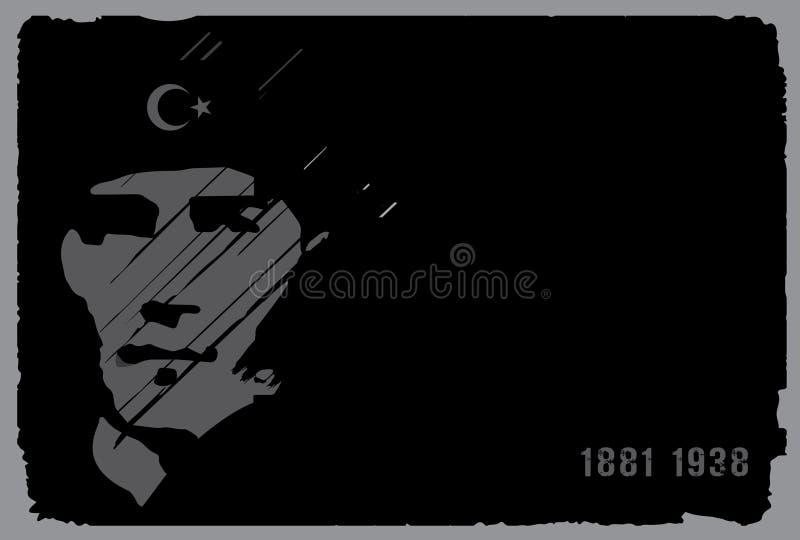 10 de novembro, aniversário de Mustafa Kemal Ataturk Death Day ilustração royalty free